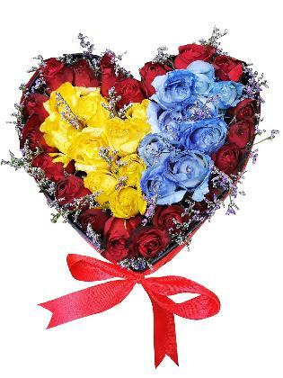 Mixed Roses Heart Love Box