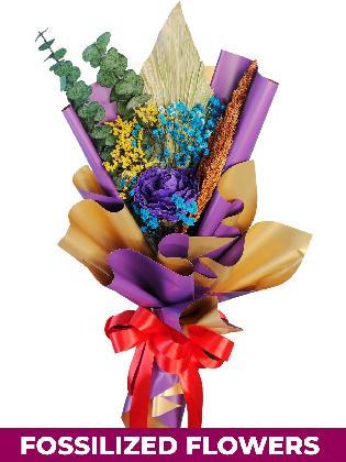 Dried Purple Roses Purple/Gold