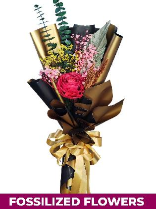 1 Dried Red Roses Black/Gold Province
