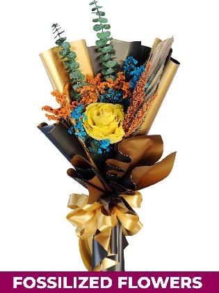 1 Dried Yellow Rose Black/Gold Province
