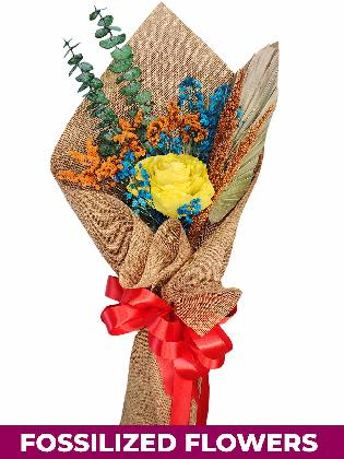 1 Dried Yellow Rose Burlap CH Province